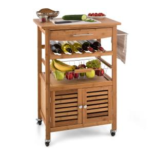 Klarstein Louisiana, kuhinjska kolica, kolica za posluživanje, 4 kata, bambus
